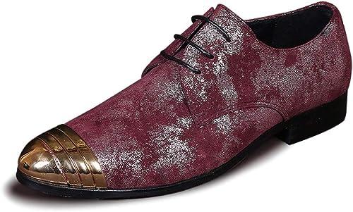 Rui Landed Oxford para hombres zapatos Formales Cordones Estilo Estilo Cuero Genuino Premium Estilo Británico Retro Colors Low Top Metal Toe Flats Bloque Heel Discoteca