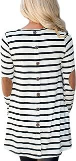 Women Stripe Elbow Patch Button Down Back Tunic Tops