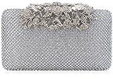Dexmay Rhinestone Crystal Clutch Evening Bag with Flower Clasp Women Purse for Wedding Silver