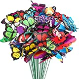 Augshy 75 Pcs Butterfly Decoration Stakes Waterproof Garden Butterfly Ornaments for Indoor/Outdoor Christmas Yard Decor