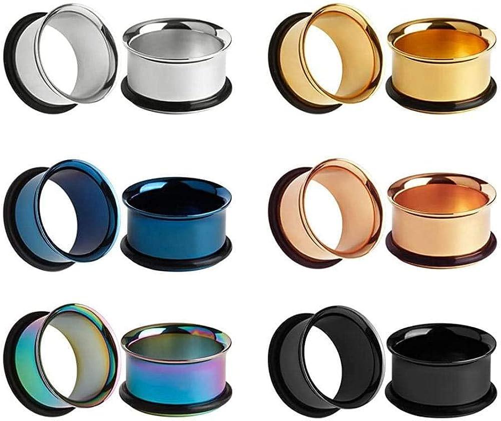 Arardo 316L Stainless Steel Ear Plugs Tunnels Gauges Stretching Kit Ear Expander Set Ear Piercings Jewelry
