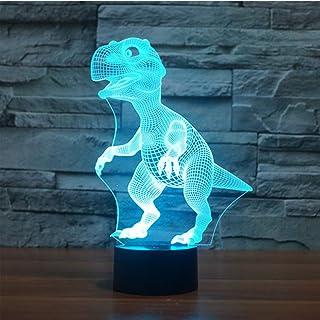 3D Lámpara óptico Illusions Luz Nocturna, EASEHOME LED Lámpara de Mesa Luces de Noche para Niños Decoración Tabla Lámpara de Escritorio 7 Colores Cambio de Botón Táctil y Cable USB, Dinosaurio-2