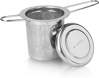 Navaris Filtro para té de Acero Inoxidable - Colador Extensible para infusiones con Tapa y Asas Plegables - Infusor Hojas de té para Tetera y Taza