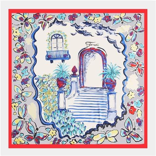 YDMZMS sjaal van zijde, 100% voor dames, grote sjaaltjes met opdruk van Marca Bandana sjaal, halsdoek voor dames, 130 x 130 cm, 18-21