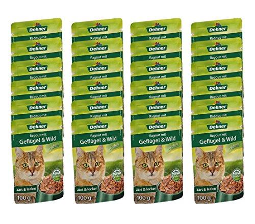 Dehner Katzenfutter, Ragout Adult Geflügel und Wild, 24 x 100 g (2.4 kg)
