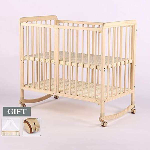 XY Crib Wooden Baby Cot Bed Toddler Bed Crib Solid Wood Multi Function Baby Bed Newborn Unpainted Children S Bed Size S