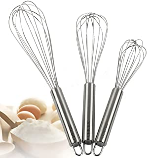 CHICHIC 3Pcs 8 Inch, 10 Inch, 12 Inch Stainless Steel Whisk Kitchen Whisk Set Kitchen Whip Kitchen Utensils Wire Whisk Bal...