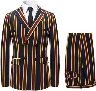 Men's Colored Striped 3 Piece Suit Slim Fit Tuxedo Blazer Jacket Pants Vest Set