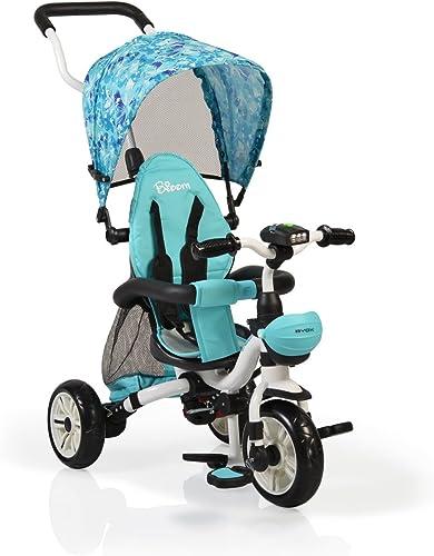Byox Tricycle Bloom 4 in 1 Dreirad, Laufrad, Lenkstange, Getr ehalter klappbar blau
