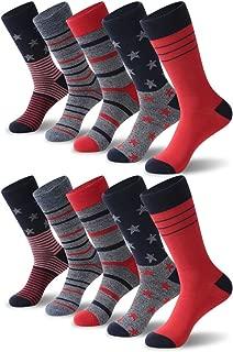 Crazy Eleven Men's Argyle/Ameriacan Flag Pattern Dress Socks 5/10 Pack Business Groomsmen Gift Socks
