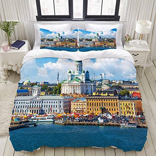 Bedding Juego de Funda de Edredón,Panorama escénico de verano de la Plaza del Mercado (Kauppatori) en el muelle del casco antiguo de Helsinki, Finlandia,Funda de Nórdico y 2 Fundas de Almohada Double