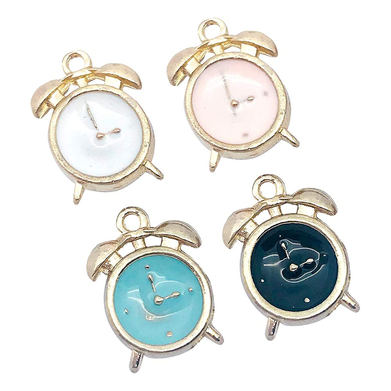 M295-E 8pcs New Cute Assorted Little Alarm Clock Bracelet Charms Pendants Wholesale