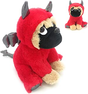 Adorable Pug Stuffed Animal Dressed in a Devil Costume Plush Soft Puppy Dog with Demon Outfit, Funny Toy for Kids or Pug Lovers  Party Nursery Decors,Super Soft Plushie  ,10 Inches