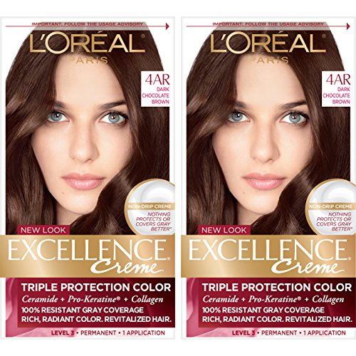 L'Oreal Paris Excellence Creme Permanent Hair Color, 4AR Dark Chocolate Brown, 100 percent Gray Coverage Hair Dye, Pack of 2