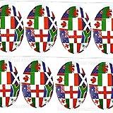 Shatchi Lot de 10 drapeaux en forme de ballon en forme de ballon de rugby 2019, pour la coupe du monde de rugby, le pub, le jardin, la décoration de la maison, plusieurs nations