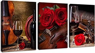 Canvas Wall Art Kitchen Wall Decor Contemporary Wall Art Violin Rose Red Wine Cup Musical Instrument Pictures Bathroom Living Room Bedroom Canvas Artworks Framed Ready to Hang 12