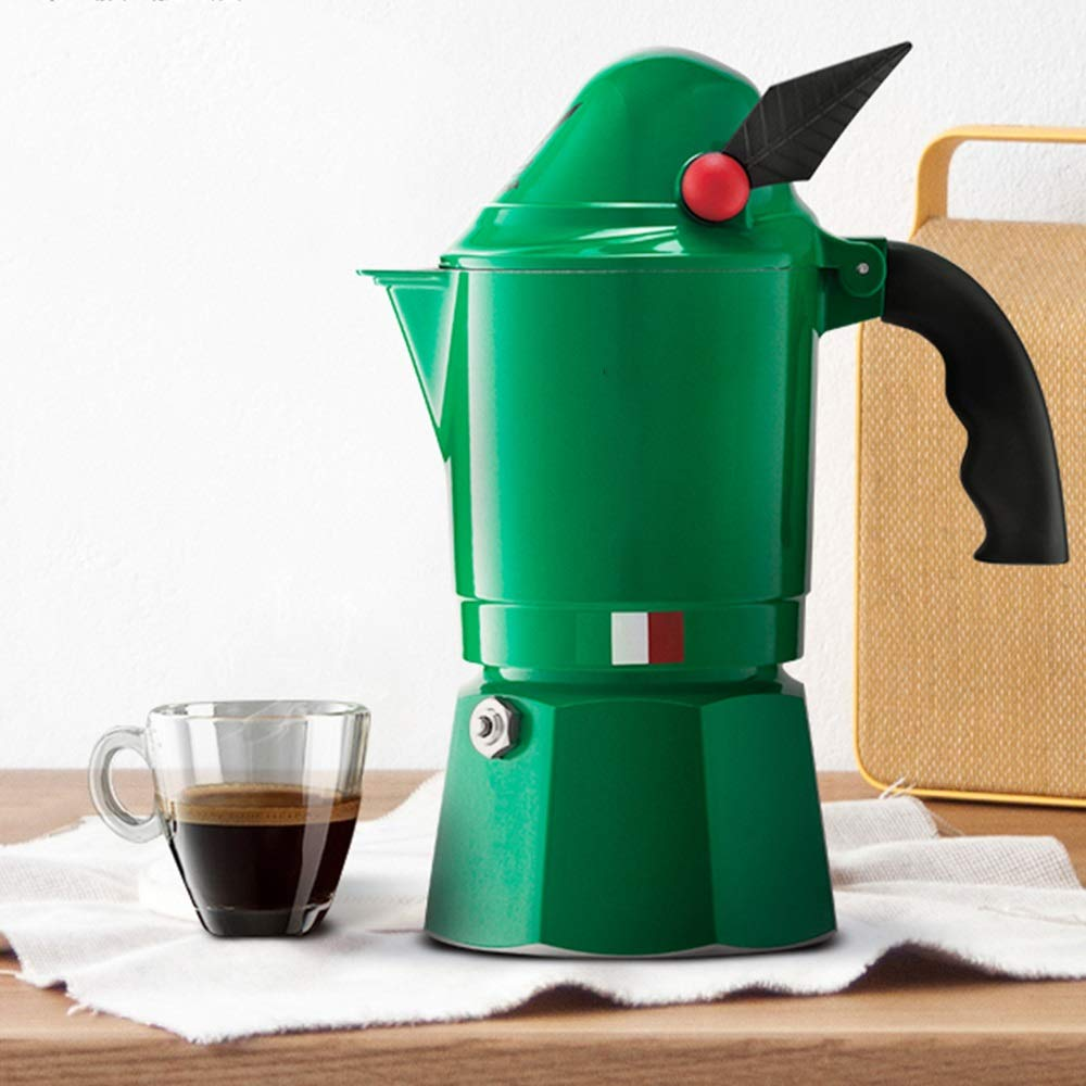 Yhjklm Cafetera Espresso Italiana Mocha Cafetera Utensilios Domésticos de café Hecho en casa del café Moka Pot Utensilios Cafetera Espresso (Color : Verde, tamaño : 3 Cup): Amazon.es: Hogar