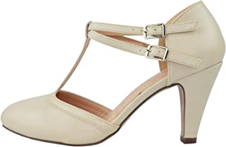 Kimmy-58 Women's Mary Jane T-Strap Round Toe Pump