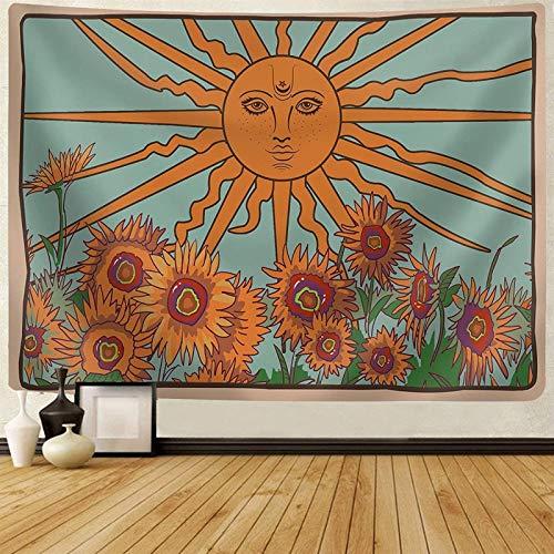 HOUHOU Pintado a Mano Girasol Tapiz de la Carta del Tarot Medieval Minimalista Hippie Misterioso Naranja Verde Azul Acuarela Ilustración de la Sala Dormitorio Dormitorio compartido Tapiz. tapices