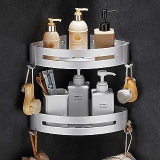Estantes Ducha Bogeer Estanteria Ducha Esquina Pared para baño sin Taladro Pegamento Patentado Aluminio Estante de baño...