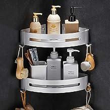 Étagère d'angle Douche, Bogeer Etagere salle de bain sans percage, Aluminium Panier de rangement pour douche avec crochets...
