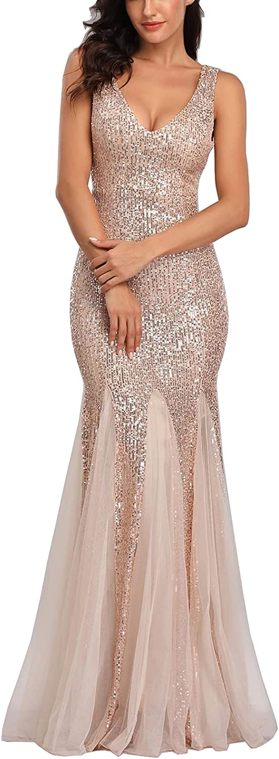 A ARFAR Women Sequin Dress Tulle Party Dress for Women Sexy V-Neck Dress Formal Long Dresses Evening Prom Gowns