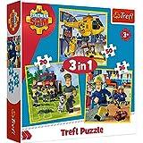 Brandsseller Juego 3 en 1 para niños, 3 puzzles con motivos de Sam el bombero.