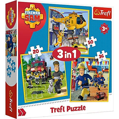 Brandsseller 3 in 1 Kinder Spiel Set 3 x Puzzle mit Motiven im Stil von Feuerwehrmann Sam