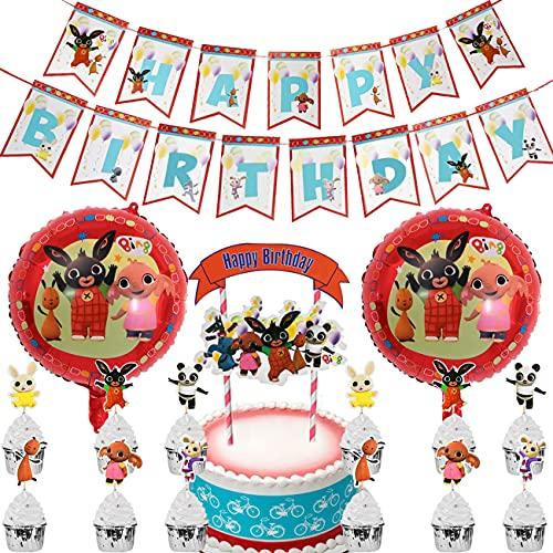 Miotlsy Geburtstagsfeier Dekorationen 28pcs Thema Luftballons Geburtstagsdekoration für Mädchen Hängende Dekoration Happy Bithday Banner für Kuchen Cupcake Dekoration Packung