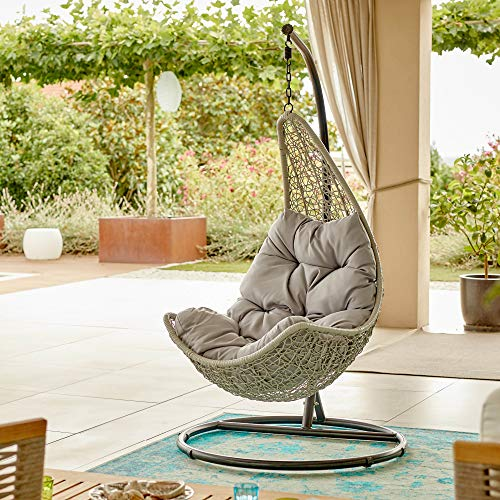 RLXME Swing Lounge Hängesessel mit Gestell I Handgeflochtener Poly-Rattanstuhl für Außenbereiche I Outdoor Hängestuhl mit Kissen für eine Person I Freistehender Korbsessel für Garten und Terrasse