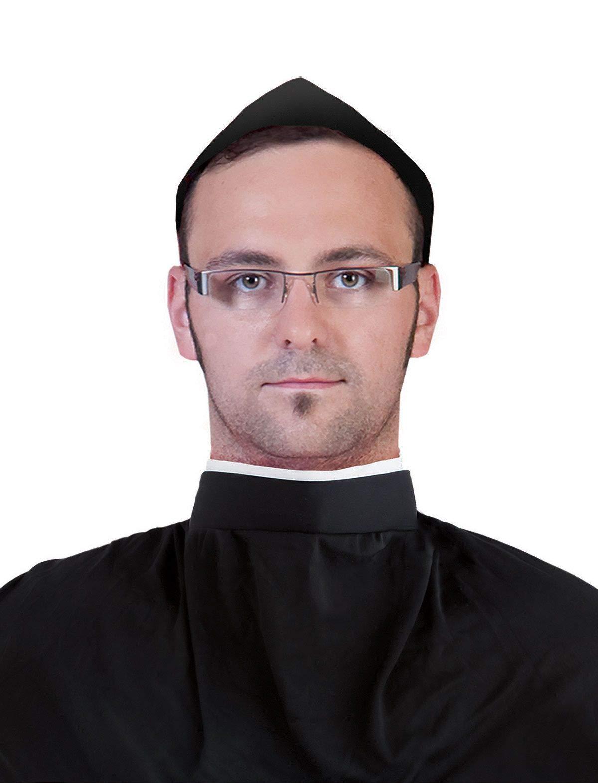 Funny Fashion Collar de Camisa de Sacerdote clérico, Accesorio para Disfraz de Halloween, Color Blanco y Negro, Talla única: Amazon.es: Juguetes y juegos