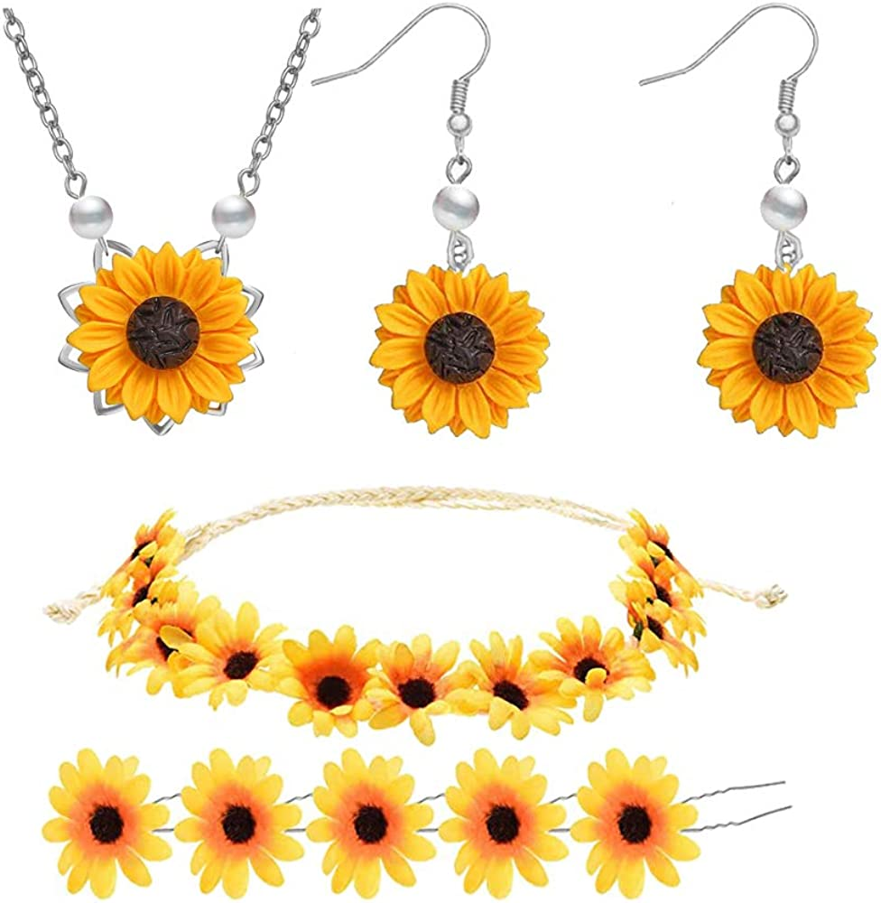 Picano 8 Pieces Sunflower Pendant Necklace Sunflower Drop Earrings Sunflower Hair Clip Sunflower Boho Headband Wreath for Women Jewelry Accessories