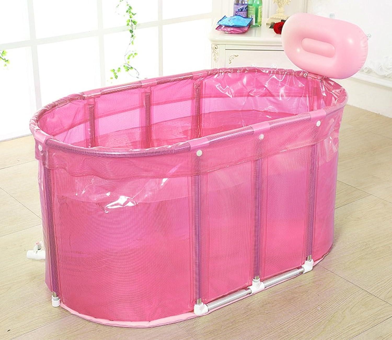 LQQGXL,Bath Sauna stainless steel bracket to increase the folding bathtub Inflatable bathtub (color   Pink)