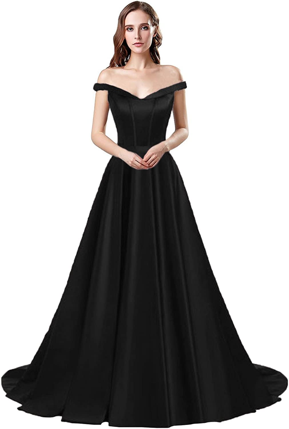 Belle House Women's A Line Prom Dresses Off The Shoulder Long Satin Evening Prom Dress with Pocket