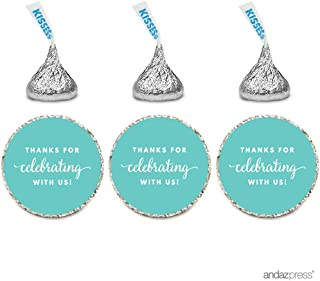 Andaz Press Chocolate Drop Labels Trio, Fits Hershey's Kisses Party Favors, Thanks for Celebrating with Us, Diamond Blue, 216-Pack, Robin's Egg Blue Decorations