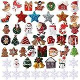 VINFUTUR 50 Stücke Mini Weihnachtsdeko Harz Weihnachten Miniatur Ornamente Klein Figuren DIY Zubehör Weihnachtsschmuck zum Basteln
