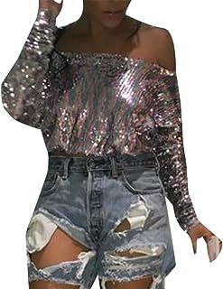 Keaac 女性セクシーストラップレスのスパンコール光沢Tシャツ