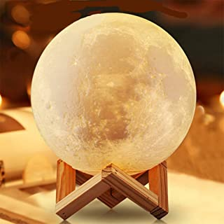 Moon Light, USB Charging Touch Remote Control Brightness 3D Printing Moonlight Warm Cool White Lights, White And Yellow, 3...