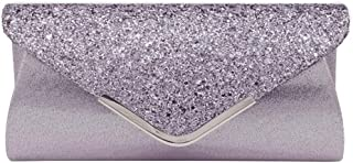 Sequined Flap Envelope Clutch Purse Solid Lustrous Party Handbag Shiny Glittered Evening Bag