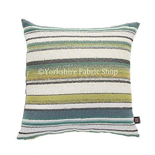 """Yorkshire Fabric Shop Fabricado en Reino Unido Nueva Suave Chenilla, Azul, Verde y Blanco Rayas patrón de diseño cojín de Tela–tamaño Mediano–43cm x 43cm–17""""x 17Pulgadas"""