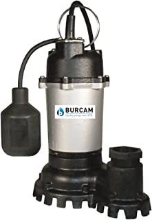 BURCAM 300728Z 1/2 HP Contractor Series Cast Iron Submersible Sump Pump, Black