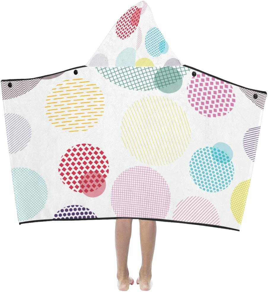 JIAJIA Kids Hooded Bath Towel Circles Fabric Colorful Challenge the lowest price of Japan ☆ Over item handling ☆ Hoode