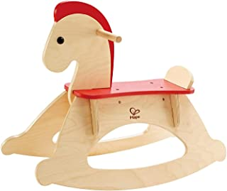 Hape Rock And Ride Rocking Horse | Wooden Kids Rocking Horse, Balanced Ride On Pony with Adjustable Backrest And Guardrail