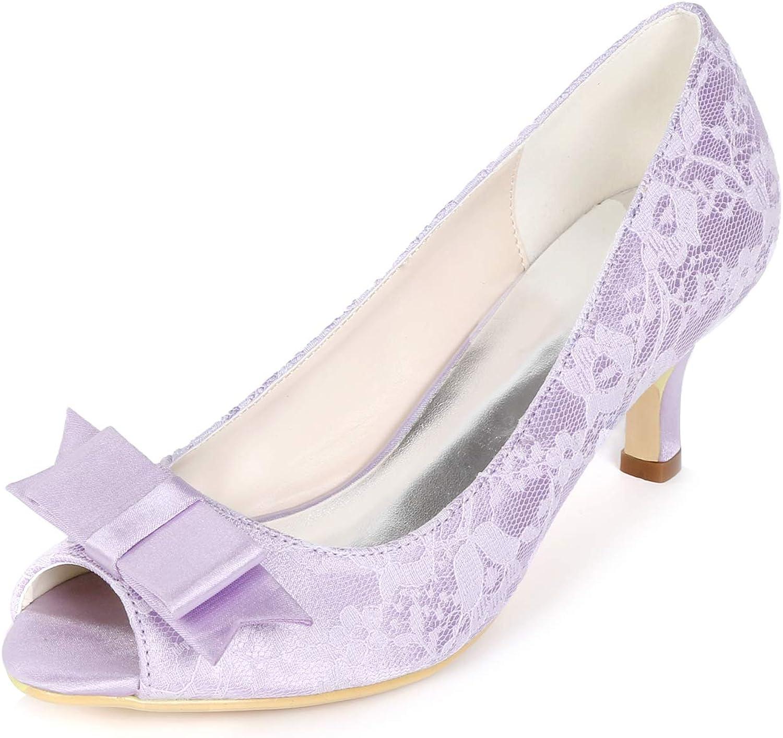 SERAPH Y1195-01LS-1 Damen Satin Spitze Prom Hochzeit Braut Pumps Bow Peep Toe Mid Heel Party Schuhe