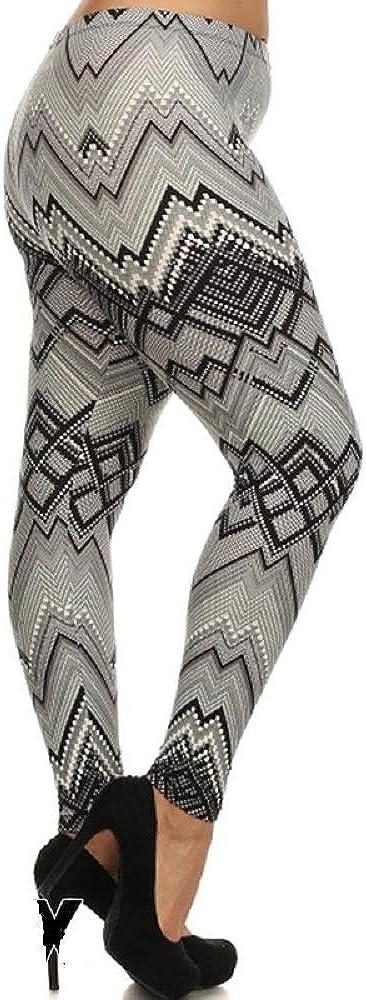 Plus Size Black Gray Olive Green Zig Zag Stripe Chevron Print Legging 1 Size Fits 3X 4X 5X