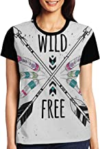 Women's T Shirts,Crossed Ethnic Arrows with Wild and Free Motivation Quote Primitive Illustration Theme
