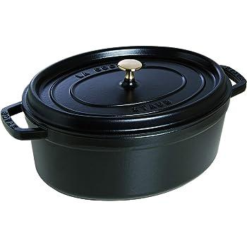 Staub 40509-322-0 Cocotte Ovale en Fonte Mat 33 cm 6,70 L pour 7 Prs, Noir