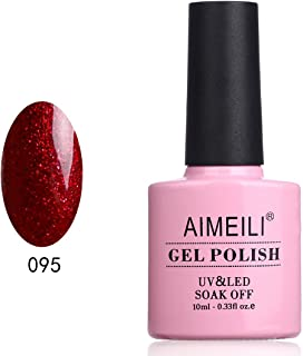 AIMEILI Shimmer Gel Nail Polish Soak Off UV LED Gel Varnish - Heart Break Red Glitter (095)10ml