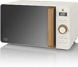 Swan Nordic Digitale Mikrowelle 20 l, 6 Betriebsstufen, 800 W Leistung, 30 Minuten Timer, einfache Reinigung, Auftaumodus, modernes Design, Griff in Holzoptik, Weiß matt