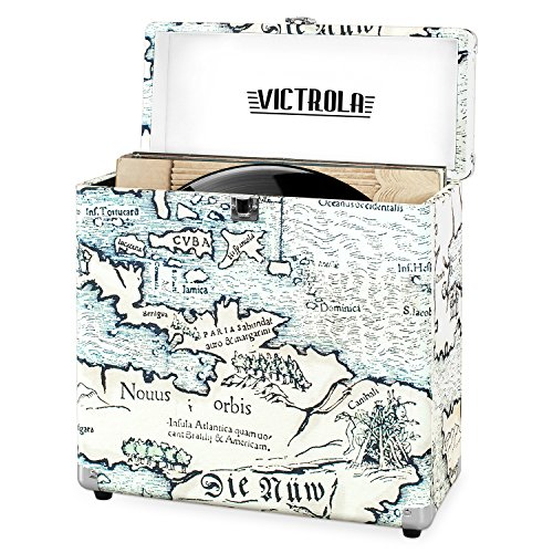 Victrola Vintage Vinyl Record Storage and Carrying Case, Fits all Standard Records - 33 1/3, 45 and 78 RPM, Holds 30 Albums, Perfect for your Treasured Record Collection, Retro Map